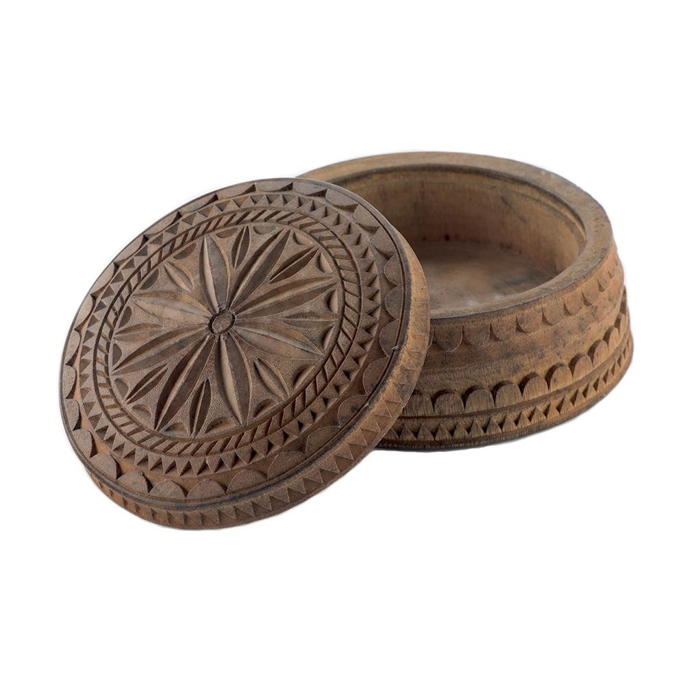 Round Wooden Jewelry Box  Box