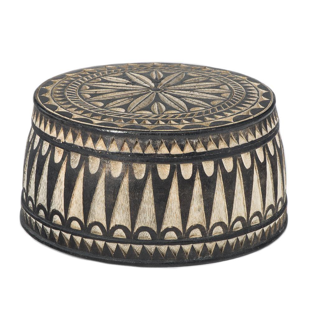 Small Round Wooden Jewelry Box