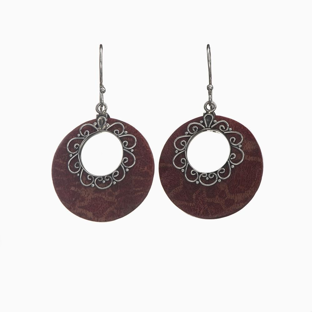 Ornamented Red Coral Circle Earrings