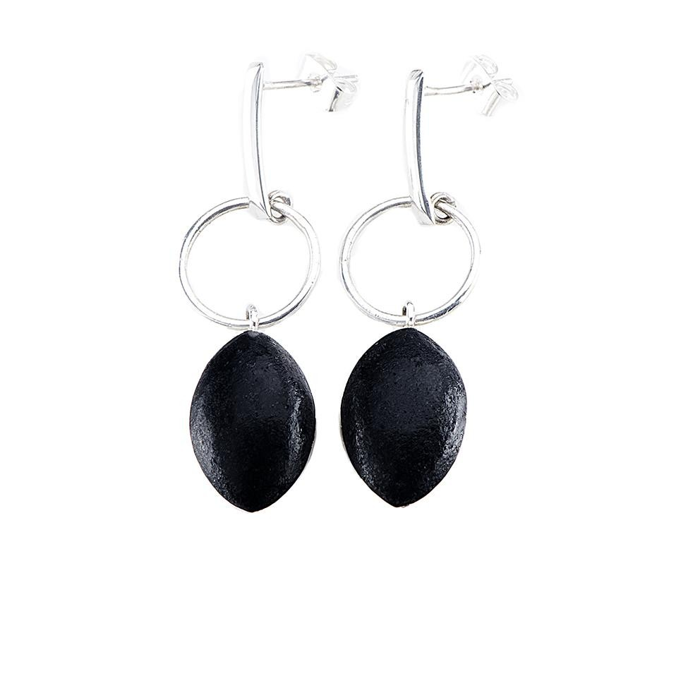 Black Lava Marquis Oval Stud Earrings