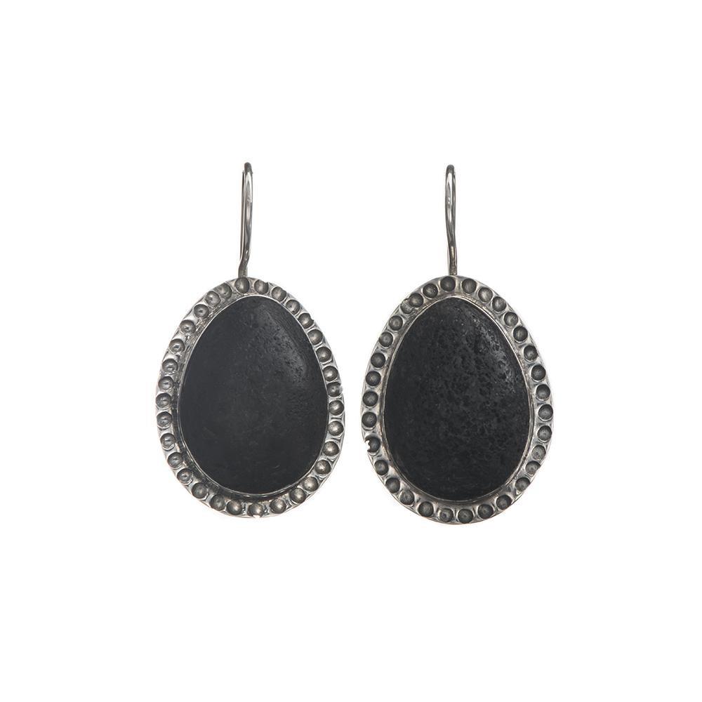 Black Lava 'Big Drop' Silver Earrings