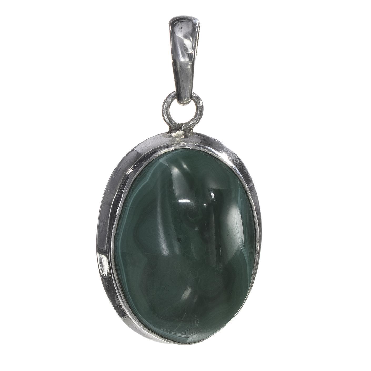 Solitaire Bezel Green Oval Malachite Pendant