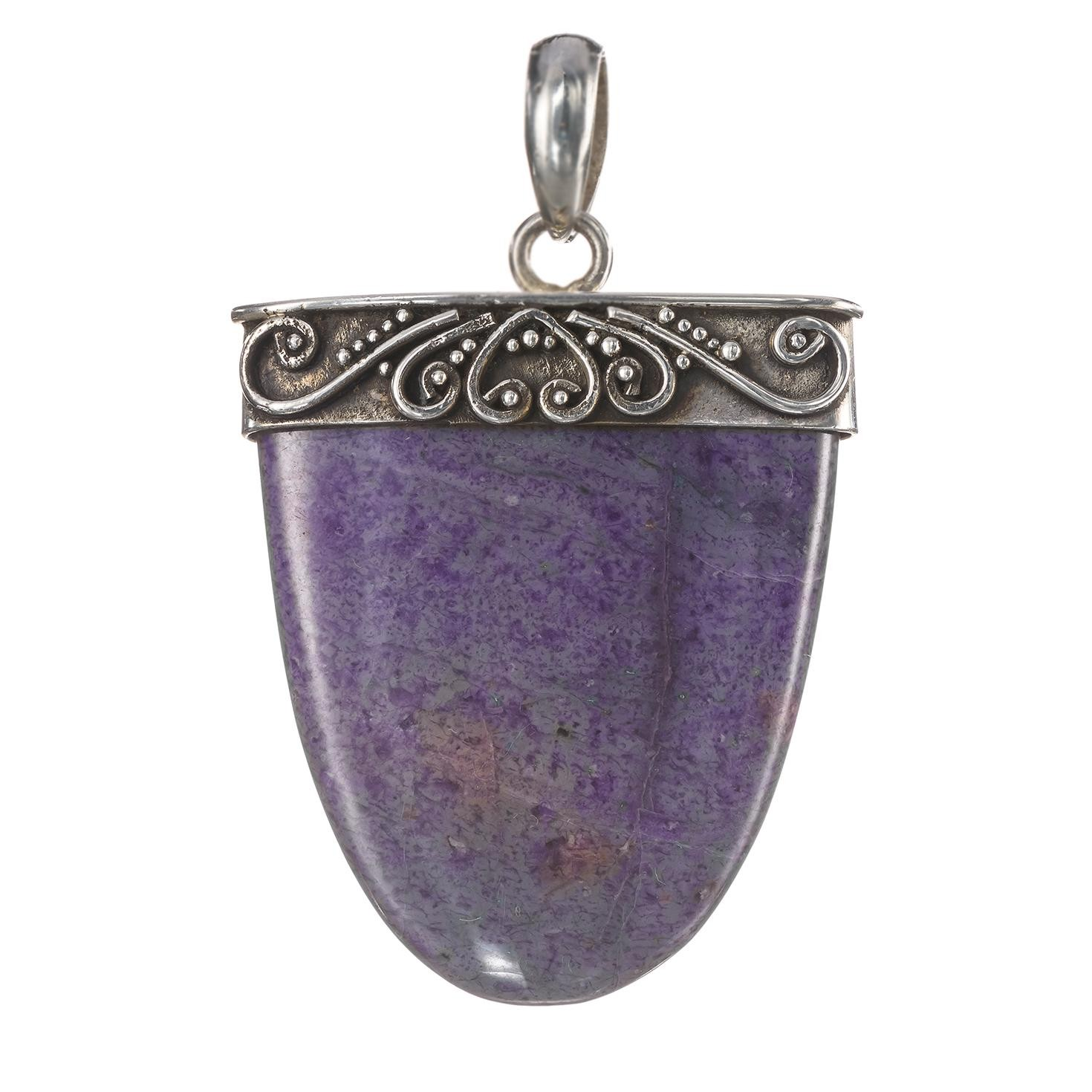 Lavender Agate in Hammered Accent Silver Pendant