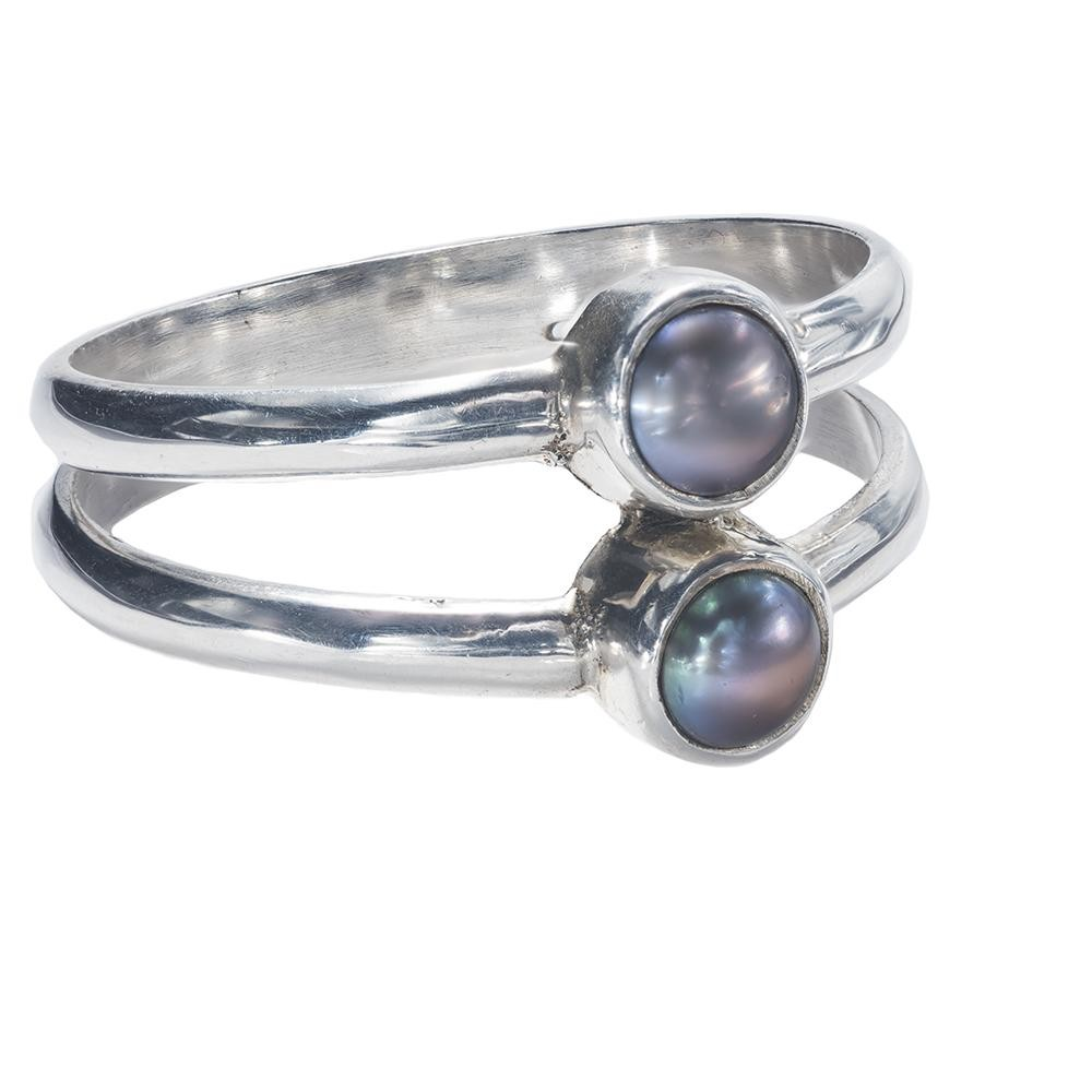 Double-Band Twin Black Mabe Pearl Ring