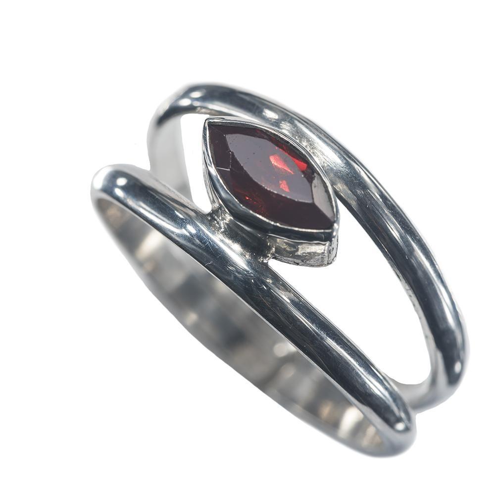 Minimalist Double Band Garnet/Amethyst Ring