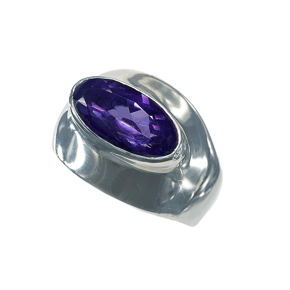 Oblong Wide-Brimmed Oval Amethyst  Ring