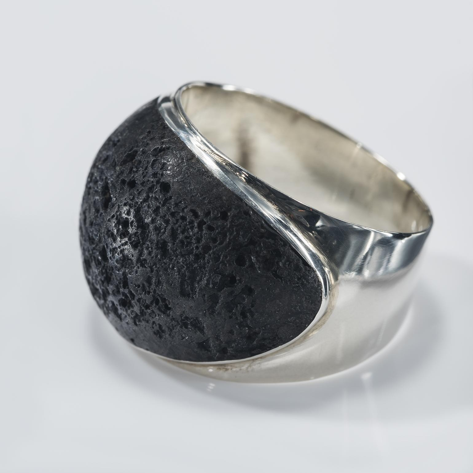 Black Lava Wide Inlay Ring