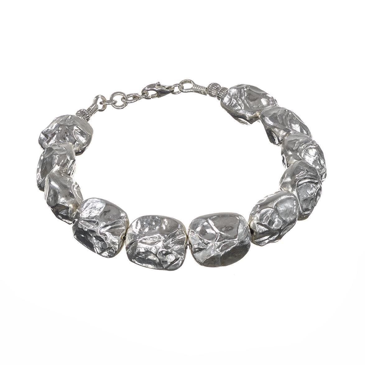Sterling Silver Flat Beads Bracelet