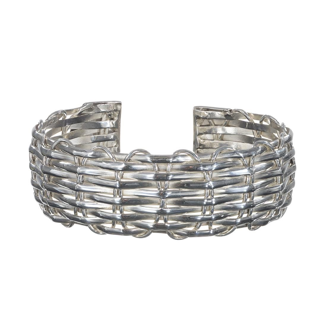 Twisted Woven Silver Cuff Bangle Bracelet
