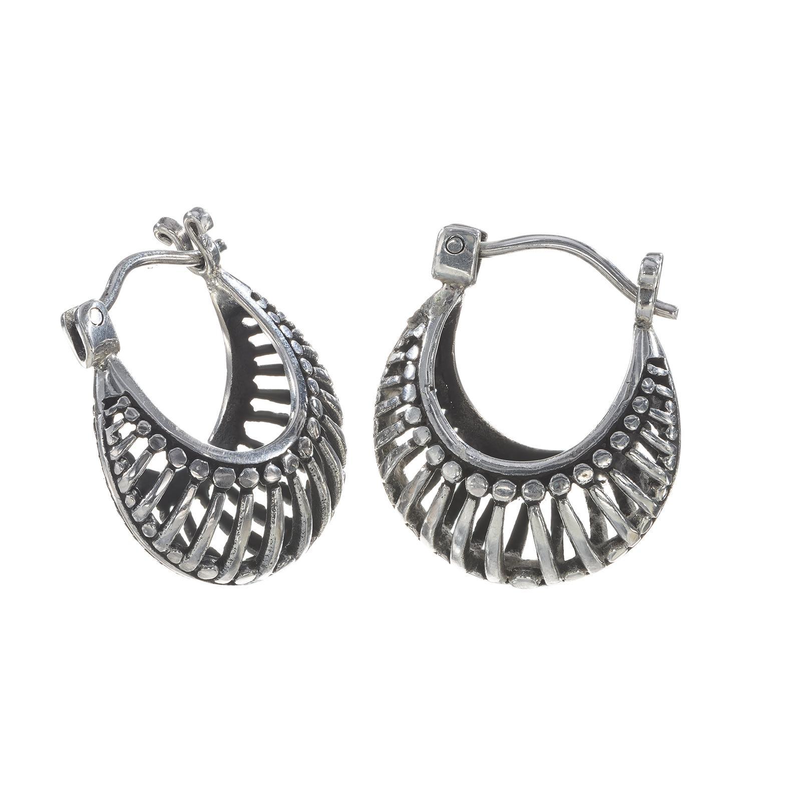Ornamental Silver Earrings