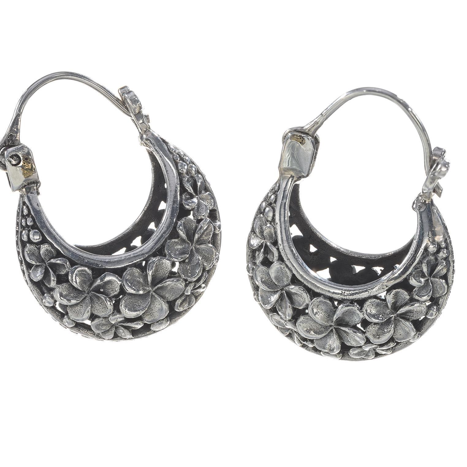 Garden Floral Ornamental Silver Earings