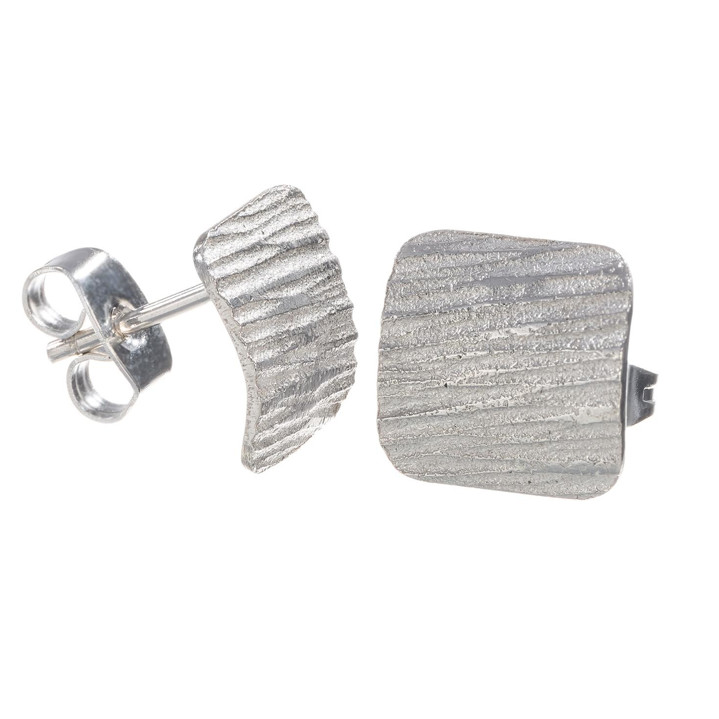 Textured Square Sterling Silver Earrings