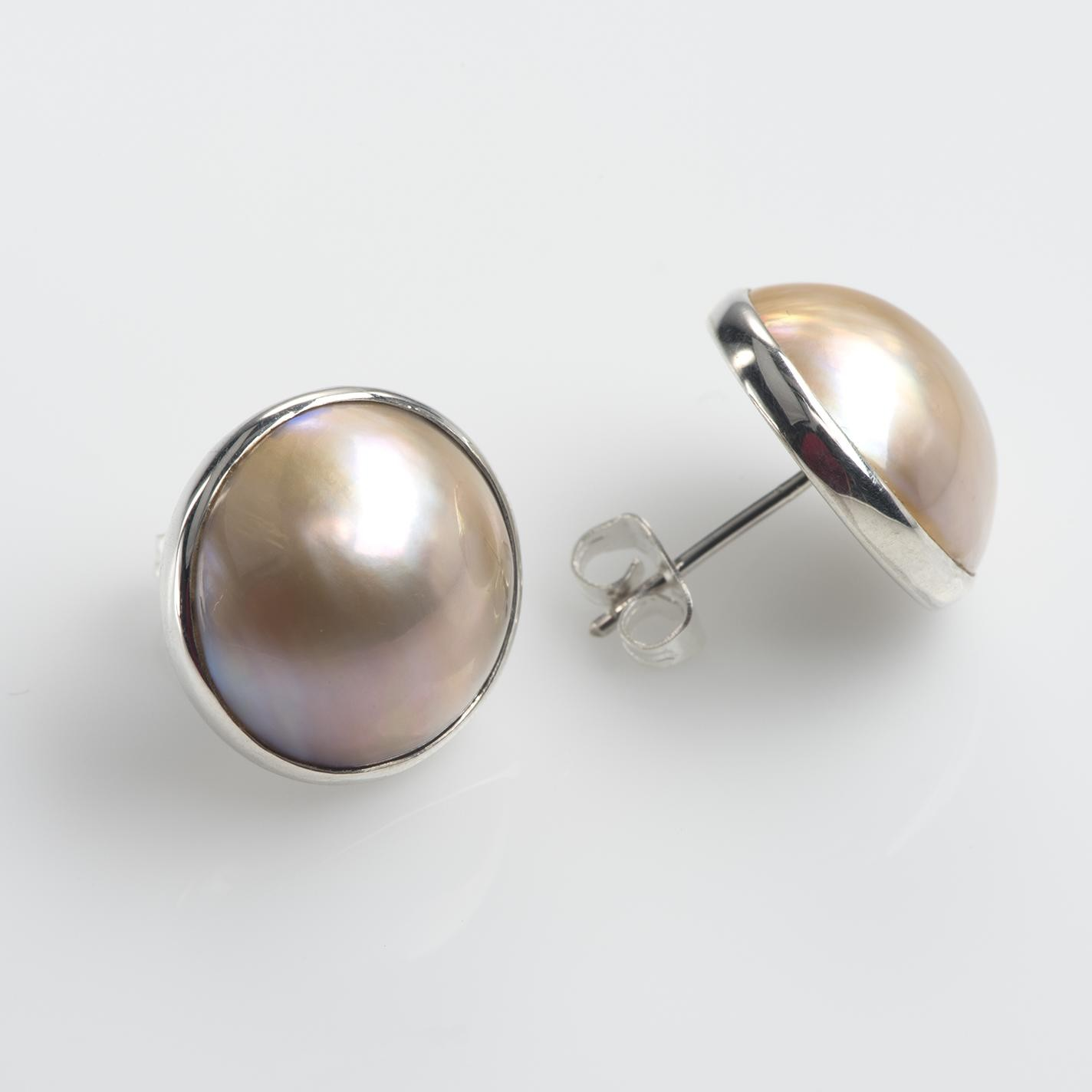 Golden Yellow Single Mabe Pearl Stud Earrings