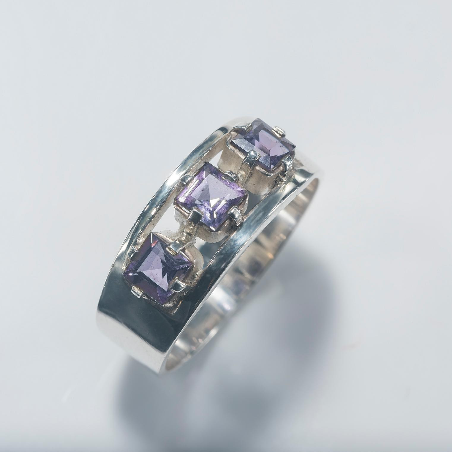 Amethyst Square Trilogy Ring