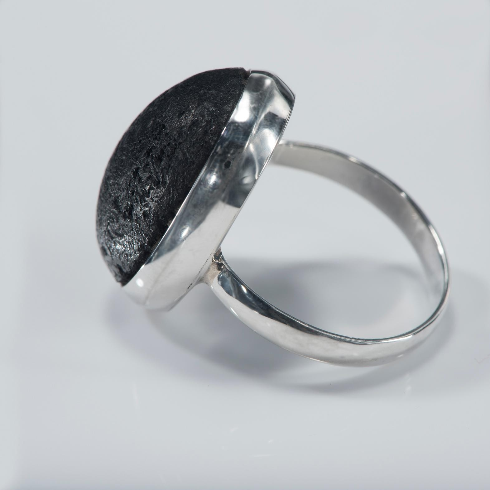 Black Lava Oval Cabochon Ring