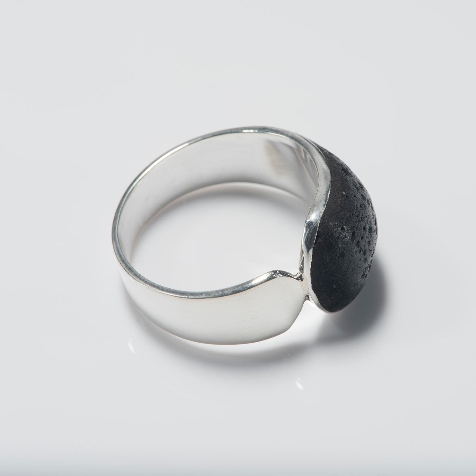 Black Lava Inlay Buckle Ring