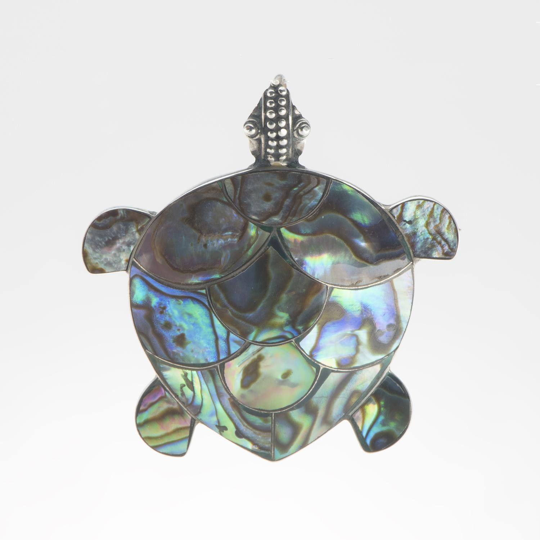 Natural Paua Turtle Pendant
