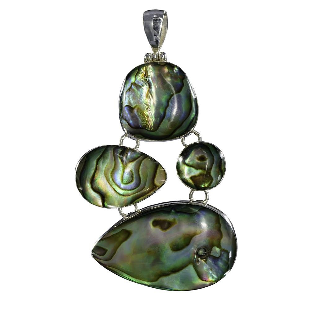Natural Paua Irregular Multi-Piece Pendant