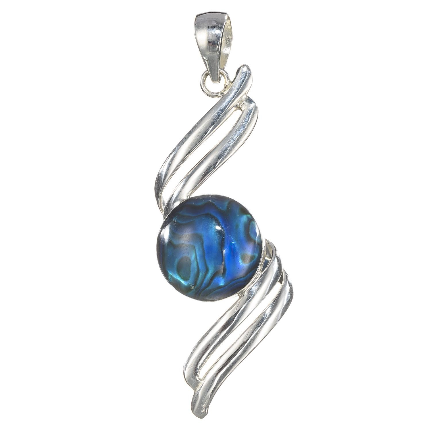 Silver Spiral Twist With Blue-Dye Paua Pendant