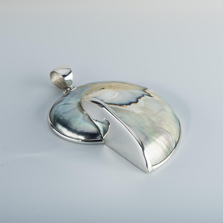 Natural Silver Hued Nautilus Pendant - 4.5cm