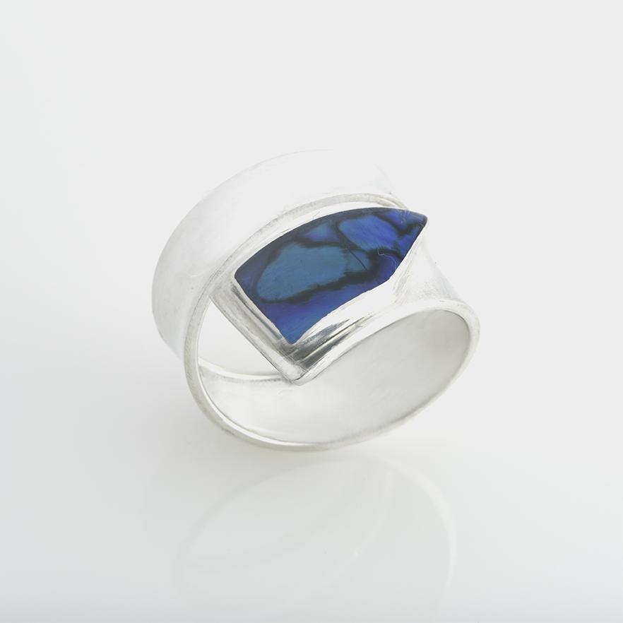 Blue Paua Snake Ring