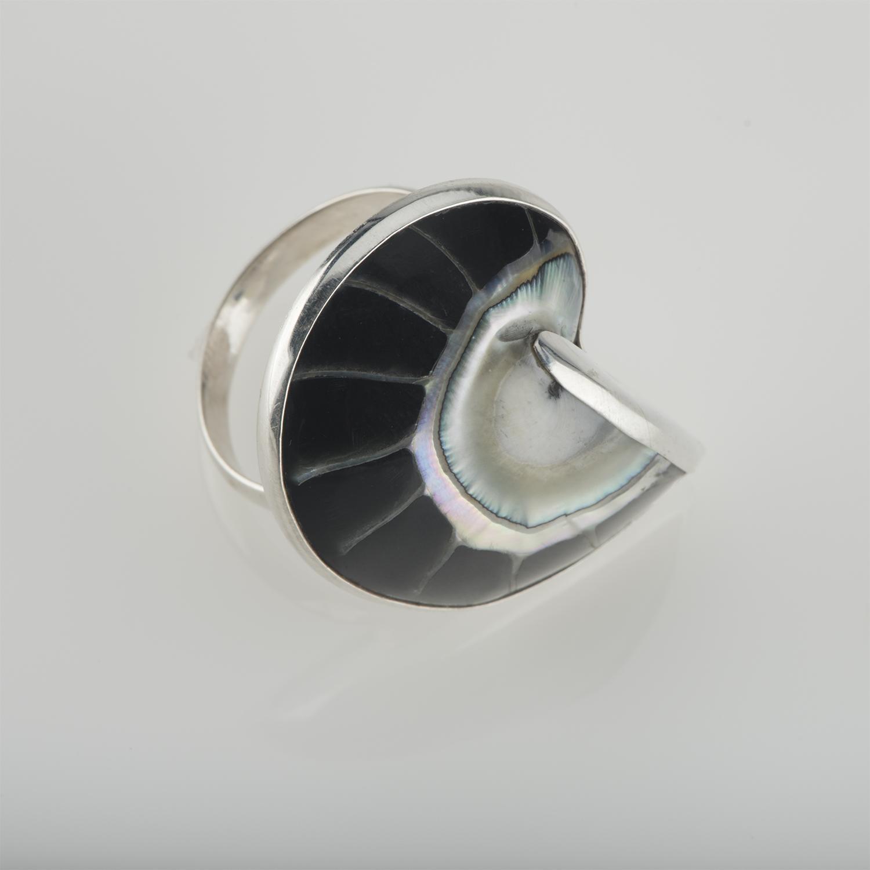 Deep Black Nautilus Ring
