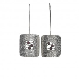 Beaded Stipplework Square Earrings