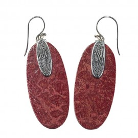 Stunning Oblong Red Coral Earring
