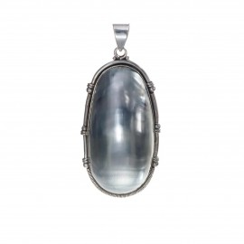 Silver Wired Natural Cukli Shell Pendant
