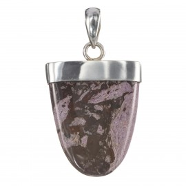 Lavender Agate on Plain Silver Pendant