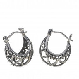 Basket Hearts Ornamental Silver Earings