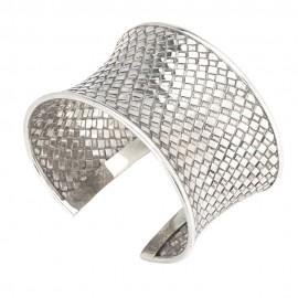 Woven Pattern Silver Cuff Bracelet