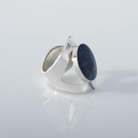 Blue Ocean- Paua Round Silver Ring