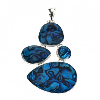 Blue Paua Irregular Multi-Piece Silver Pendant
