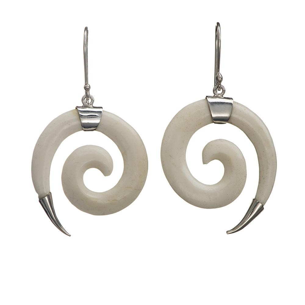 Thick Spiral Cowbone Earrings