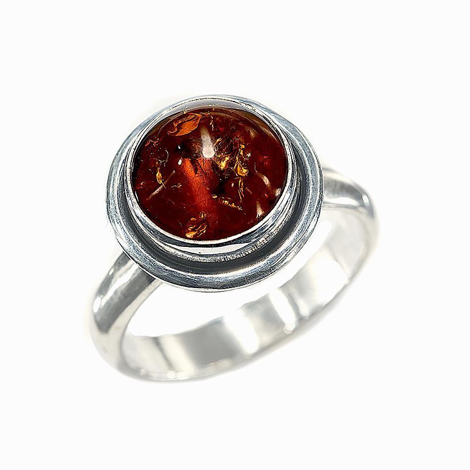 Elegant Double Bevel Amber Ring